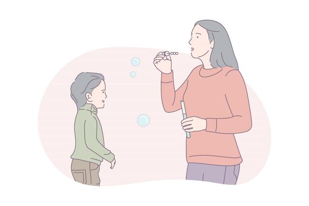 母と娘のシャボン玉を吹く、概念図