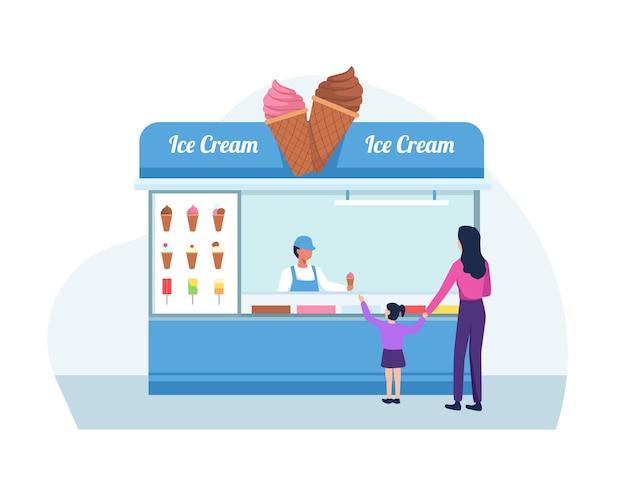 Мать и дочь покупают мороженое. плоский стиль