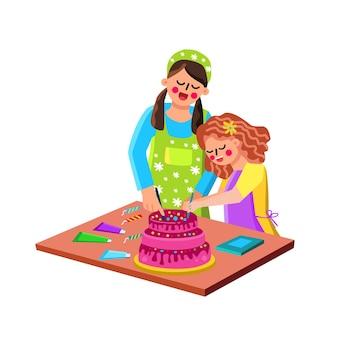 엄마와 딸이 함께 케이크를 요리하는 벡터. 여자 엄마 부모와 여자 아이 요리 축 하 맛있는 달콤한 파이. 캐릭터 가족은 타르트 플랫 만화 삽화를 준비하고 장식합니다.