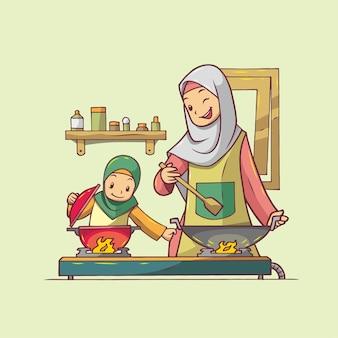 一緒に料理をする母と娘