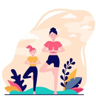 Мать и дочь занимаются фитнесом на открытом воздухе