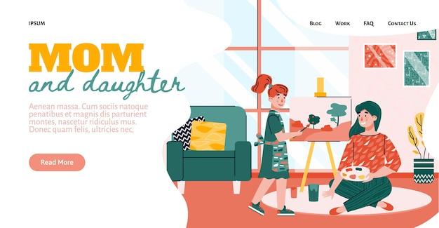 Мать и дочь вместе рисуют и рисуют баннер веб-сайта