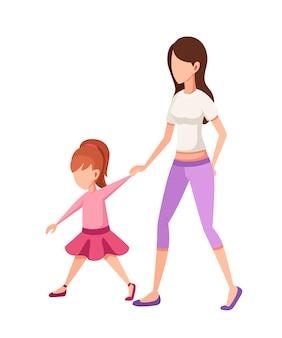 엄마와 딸. 엄마와 함께 산책, 손을 잡고 소녀입니다. 얼굴 캐릭터가 없습니다. 흰색 배경에 만화 그림