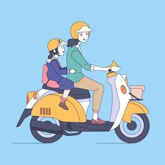 Мать и дочь идут в школу на мотоцикле