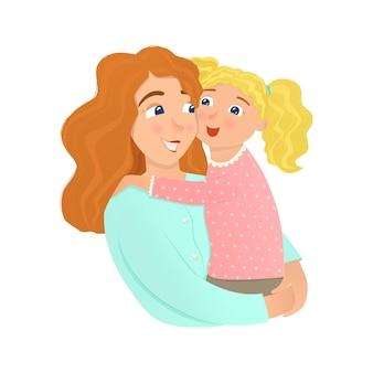 Мать и дочь обнимаются.
