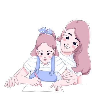 Мать и дочь иллюстрации