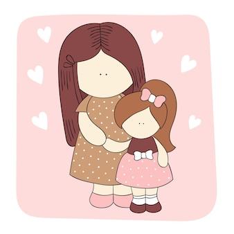 포옹에 엄마와 딸입니다. 어머니의 날, 가족, 사랑, 인사말 카드에 대한 개념. 사람들과 귀여운 일러스트