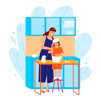 母と娘のキッチンで料理を作って、家族が一緒に時間を費やすコンセプトは、白、漫画イラストに分離された料理を準備します。