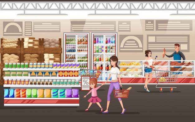 엄마와 딸. 음식과 딸의 손으로 바구니를 들고 엄마. 쇼핑 개념. 만화 캐릭터 . 슈퍼마켓 배경에 그림입니다.