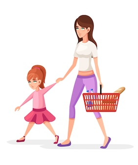 엄마와 딸. 음식과 딸의 손으로 바구니를 들고 엄마. 쇼핑 개념. 만화 캐릭터 . 흰색 배경에 그림