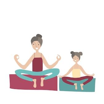 엄마와 딸 로터스 위치에 앉아 요가 연습. 가족 스포츠 및 어린이와의 신체 활동, 공동 활동 레크리에이션. 스타일 그림입니다.