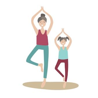 엄마와 딸이 한쪽 다리에 서있는 요가 연습. 가족 스포츠 및 어린이와의 신체 활동, 공동 활동 레크리에이션. 화이트 스타일의 그림입니다.