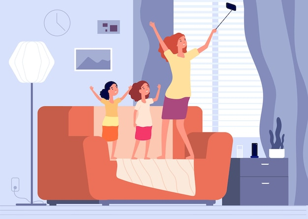 母と娘の自撮り。ソファで写真を作る家族。姉妹やお母さんと女の子が一緒に楽しい時間をイラストで楽しんでいます。娘と母の自撮り、スマートフォンで女性が写真を撮る