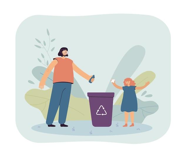 엄마와 딸 재활용 쓰레기통에 쓰레기를 던지고. 특별한 바구니에 음식 꾸러미를 놓는 여자와 어린 소녀.
