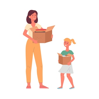 어머니와 딸-기부, 평면 흰색 배경에 고립 된 것들과 골 판지 상자를 들고 자원 봉사자. 자선 및 의복 나눔.