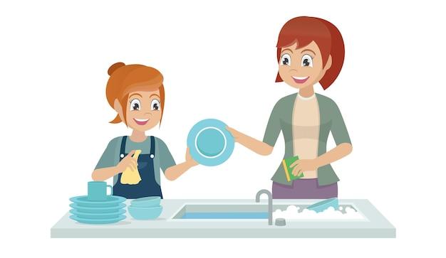 Мать и дочь, мытье посуды