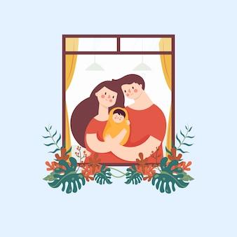 Мать и папа обнимают ребенка, любят эмоции в цветочном окне