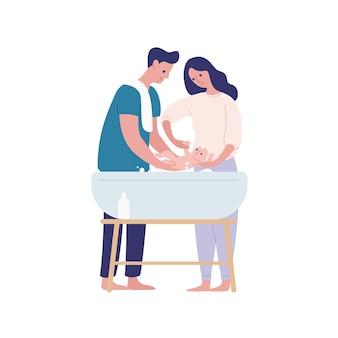 엄마와 아빠 목욕 아기 평면 벡터 일러스트 레이 션. 육아, 가족 함께 흰색 배경에 고립입니다. 신생아 디자인 요소가 있는 부모 만화 캐릭터. 아기와 엄마와 아빠입니다.