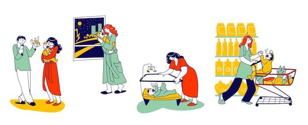 腹痛やけいれんの痛みで泣いている新生児を落ち着かせようとしている母と父のキャラクター。スーパーマーケットのショッピングトロリーの子供を持つお母さん、playpenの子供。線形ベクトルの人々の図
