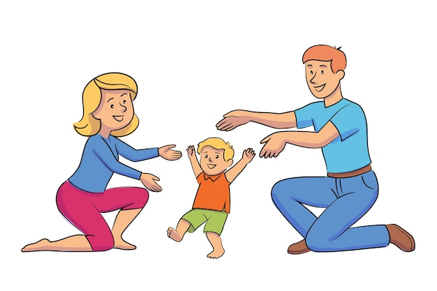 어머니와 아버지는 작은 아이와 놀고 엄마 아빠를 걸어 아기를 가르치는