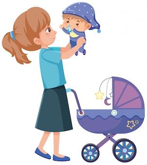 Мать и счастливый ребенок изолированы