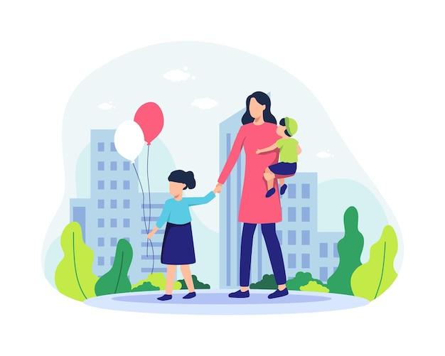 公園を歩いている母と彼女の子供たち。家族で一緒に時間を過ごし、娘と息子と一緒に楽しんでいる幸せな親。風船を持つ少女。フラットスタイルのベクトル図
