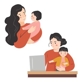 어머니와 아이 컬렉션. 베이비 시터 동안 일을하려고하는 엄마. 현대 유행 일러스트