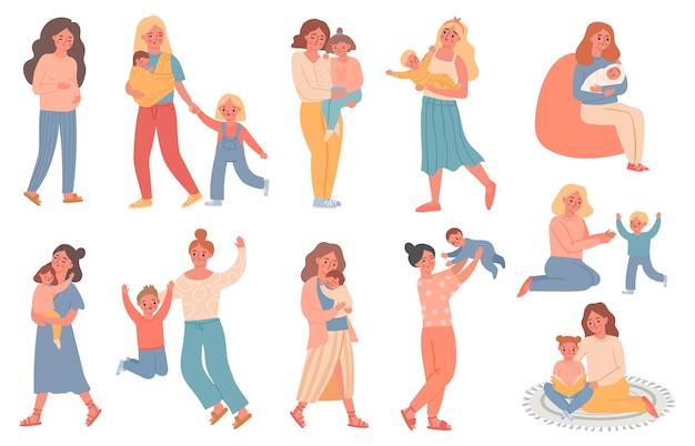 엄마와 아이. 임산부, 엄마는 아들과 놀고, 아기를 안고, 딸을 안고, 책을 읽습니다. 해피 어머니의 날입니다. 단일 부모 가족 벡터 집합입니다. 일러스트 어머니 임신, 아기를 가진 여자
