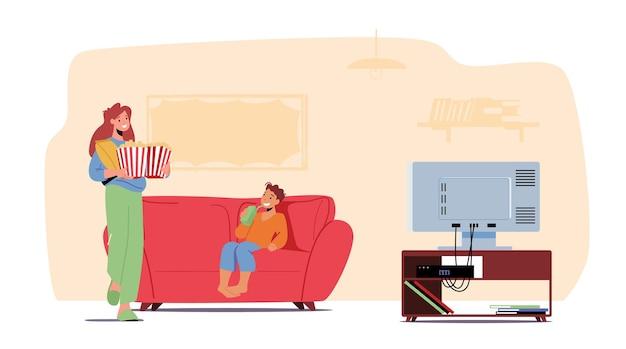 ソファに座っているソーダとポップコーンを持つ母と幼い息子は、映画を見る準備をします。家族のキャラクターとホームシネマのコンセプト。人々はテレビ番組や映画を見ます。漫画のベクトル図