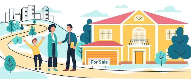 Мать и сын покупают или арендуют новый загородный дом или коттедж, риэлтор подписывает договор на продажу дома, переезжая в новый дом, векторная иллюстрация