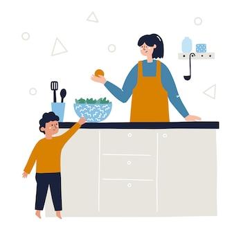 母と息子が台所で一緒に料理をします。家にいる家族の活動の概念。手描きの抽象的なベクトルイラスト。