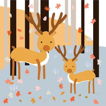 春の森の母と息子の鹿