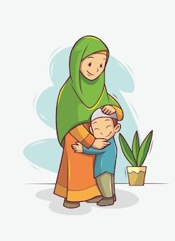母と息子の抱擁イラスト