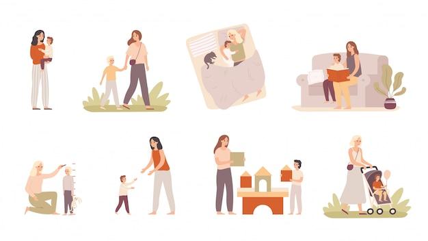 엄마와 아들. 아이를 키우는 엄마, 모성 사랑과 엄마는 어린 소년 벡터 일러스트 레이션을 안아줍니다.