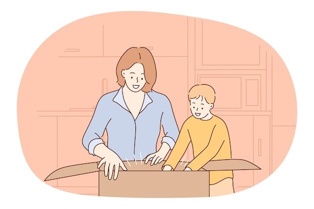 母と息子、母性、母の日のコンセプト。若いポジティブな女性の母親の漫画のキャラクター