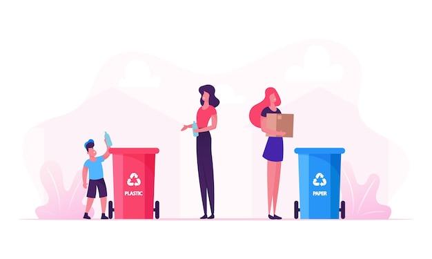 Мать и сын выбрасывают мусор в контейнеры со знаком утилизации пластика. мультфильм плоский рисунок