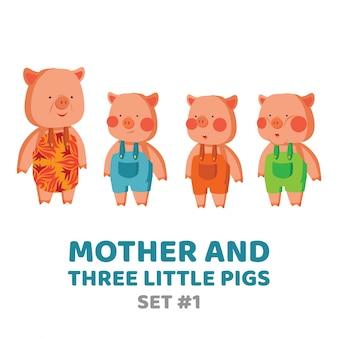 母と3匹の小さな豚 Premiumベクター