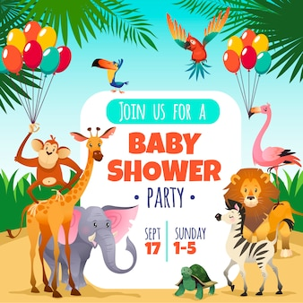 Mother baby shower. template invitation children party greeting baby tropical animals card, cartoon   illustration
