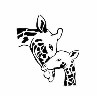 Mother and baby symbol logo tattoo design stencil vector illustration