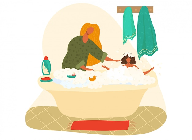 Mother bathing baby girl in foam, shampoo bathroom higiene cartoon   illustration isolated on white.