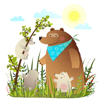 Мать медведь с детенышами в диком лесу