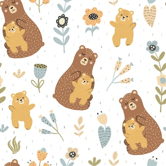 Mother bear with her baby seamless pattern
