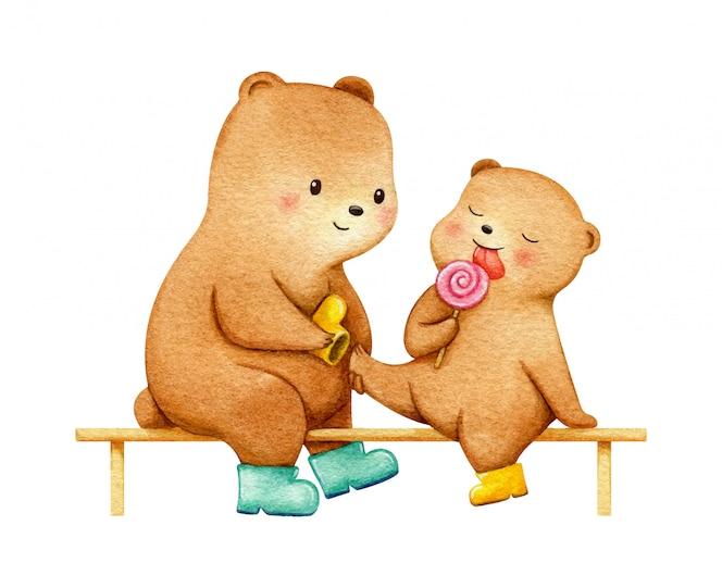 レインブーツでベンチに座っている赤ちゃんと母熊。穏やかな家族の図