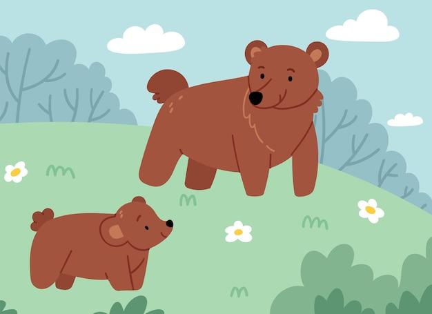 芝生の上を歩いている彼女の子供と母親のクマ