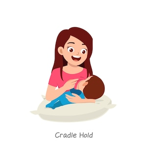 クレードルホールドという名前のポーズで母乳育児中の赤ちゃん