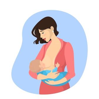 生まれたばかりの赤ちゃんを母乳で育てる母親。子育てのアイデア