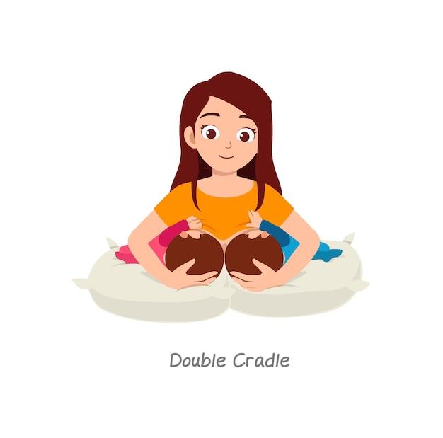 ダブルクレードルという名前のポーズで母乳育児双子の赤ちゃん