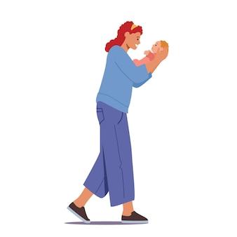 신생아의 어머니 돌보기. 빨간 머리 백인 여성 캐릭터가 아기를 손에 안고 잠을 자고 노래를 부르고 있습니다. 출산, 엄마 사랑 개념입니다. 만화 사람들 벡터 일러스트 레이 션