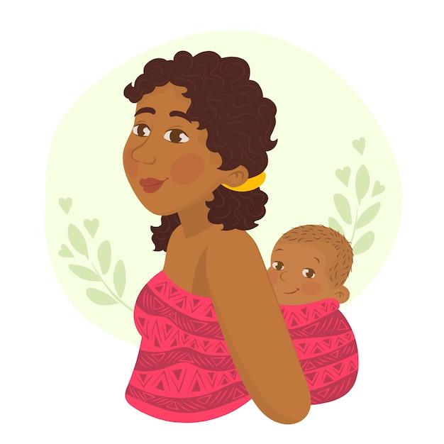 Мать несет ребенка на спине