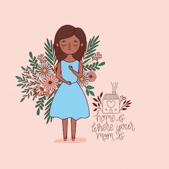 花と葉を持つ母漫画